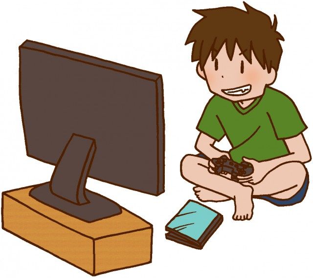 テレビゲームをしている
